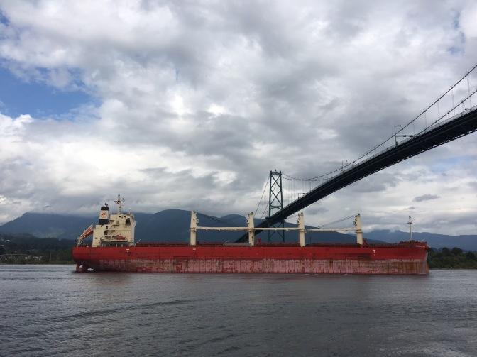 cargo ship entering harbour